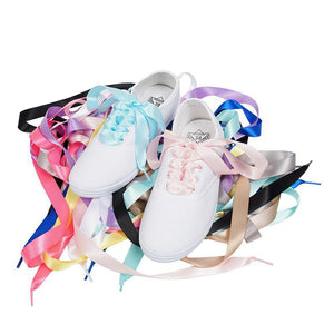 Flat Silk Ribbon Shoe Laces Women Sneaker Sport Shoes Shoelaces Multi Color Men Shoelace Strings 120 cm Cordones Zapatos LDD0071