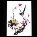 Flower Birds Decal 1 Sheet Waterproof Tattoo Ancient Plum Blossom HB552 Temporary Tattoo Sticker for Women Men Body Arm Back Art