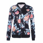 Flower Print Women Basic Coats Long Sleeve Zipper Bomber Jacket Casual Jacket Coat Autumn Winter Streetwear sukajan