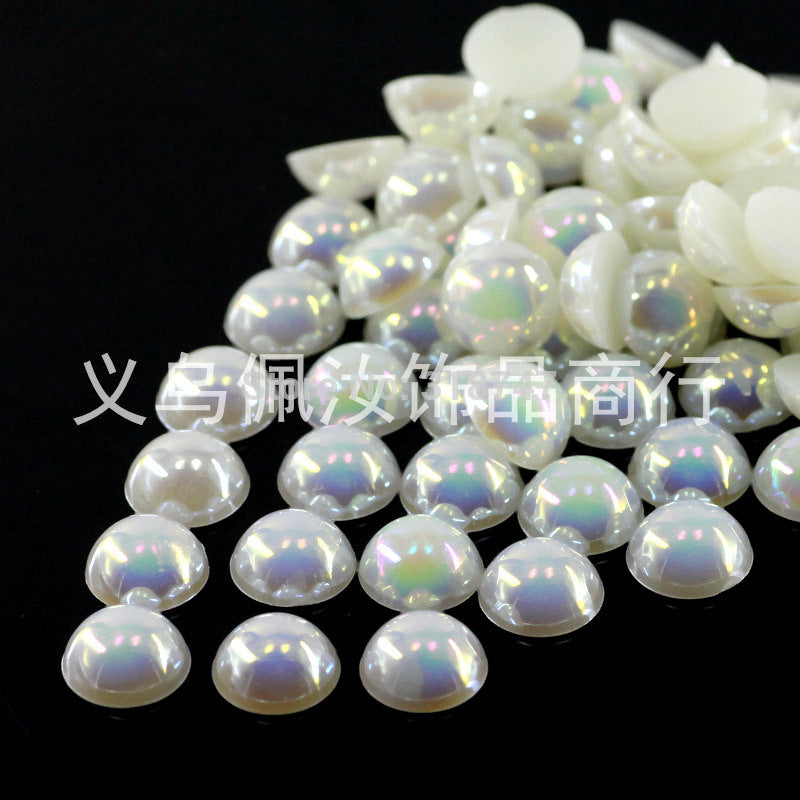 Free Shipping 300Pcs/lot 5mm AB Colors Craft ABS Imitation Pearls Half Round Flatback Pearls Resin Scrapbook Beads Decorate Diy