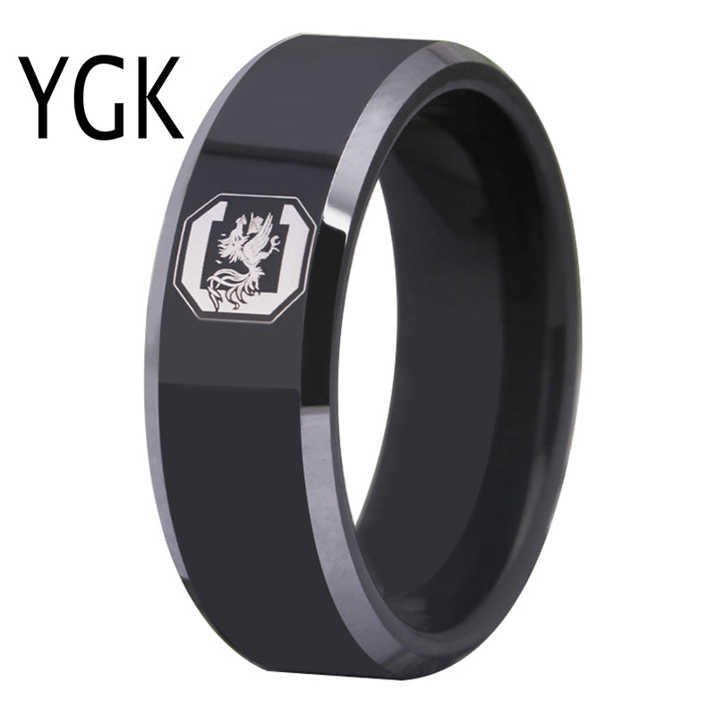 Free Shipping Customs Engraving Ring Hot Sales 8MM Black With Shiny Edges GAMECOCKS Design Tungsten Wedding Ring