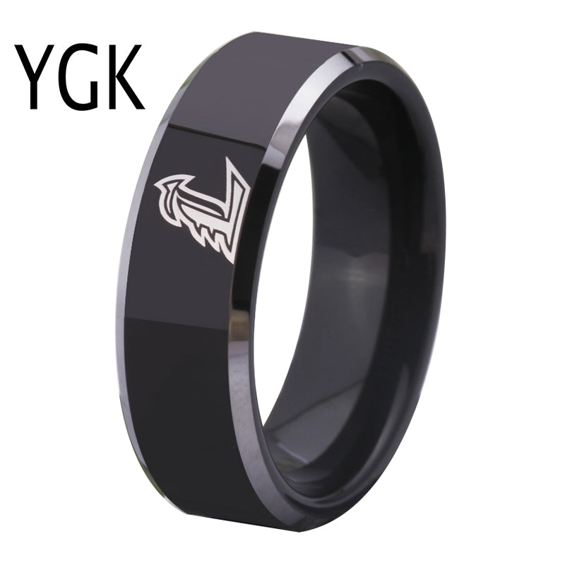 Free Shipping Customs Engraving Ring Hot Sales 8MM Black With Shiny Edges Louisville Cardina Men's Tungsten Wedding Ring