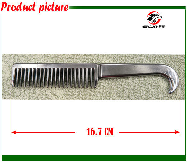 Free shipping Aluminum horse comb ,hand polished horse grooming product.(CB9052)