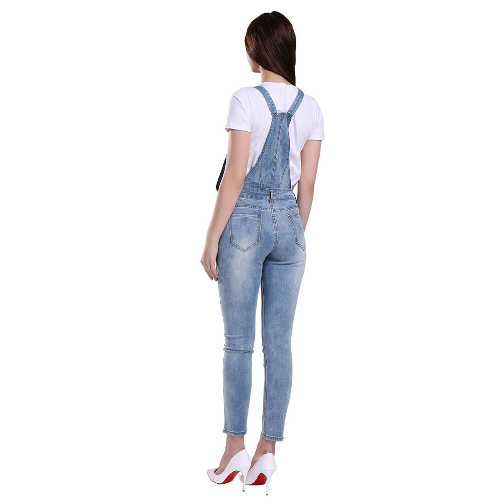 GCAROL Women Ripped Denim Jumpsuits Casual Sexy Stretch Romper Ladies'Denim Pencil Overalls Stretch Slim Dungarees For 4 season