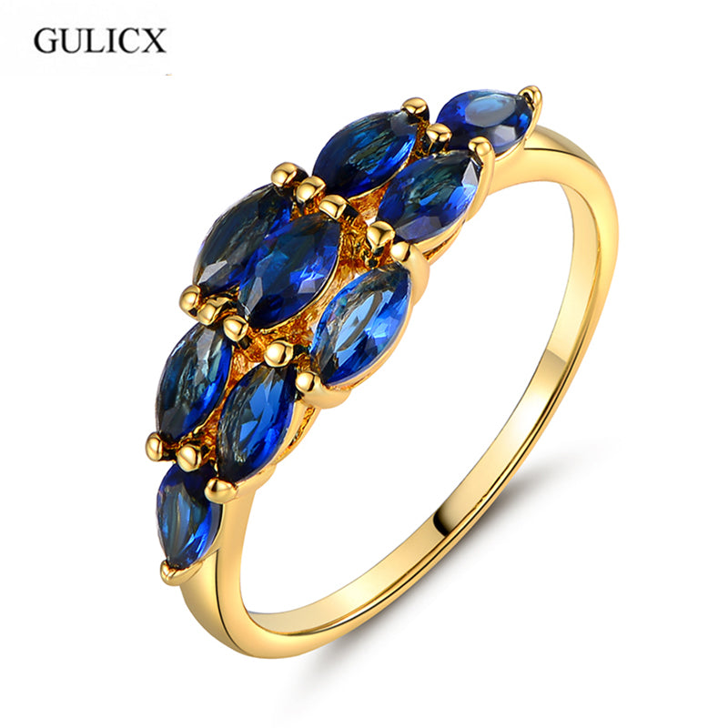 GULICX Fashion Crystal Ring for Girl Gold-color Pear blue Cubic Zirconia Band Anniversary Rings Love Gift R132
