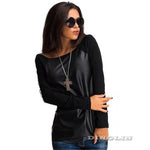 GZDL Fashion T Shirt Autumn Tops Women Black Long Sleeve Leather T-Shirt Casual Loose Boat Neck Tee Winter Shirts Blusas CL2393