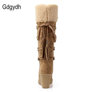 Gdgydh Fashion Scrub Plush Snow Boots Women Wedges Knee-high Slip-resistant Boots Thermal Female Cotton-padded Shoes Warm Winter
