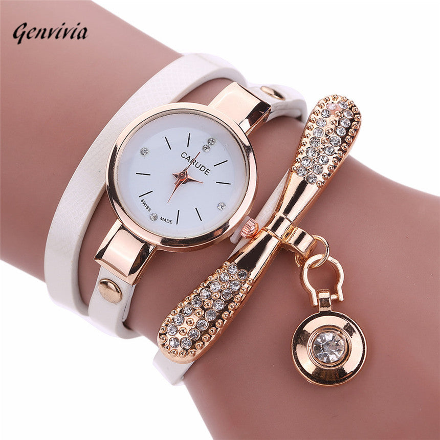 Genvivia Fashion ladies Women watch Leather Rhinestone Analog Quartz Wrist Watches Christmas Bracelet Watch relogio feminino