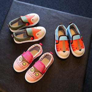 Girls canvas shoes spring Autumn Cartoon fox print Running Sneakers children kids shoes soft and comfortable Flat school shoes
