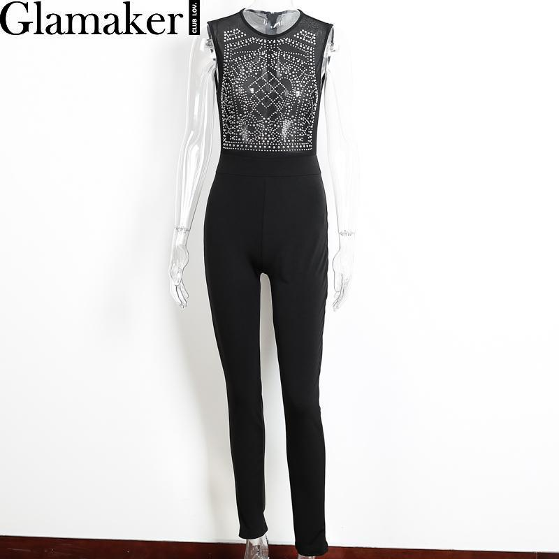 Glamaker Sleeveless o neck rhinestone summer jumpsuit romper Mesh party bodycon overalls Women clubwear long pants playsuit