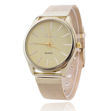 Gold Watch Women Watches Geneva Famous Brands Relogio Feminino 2017 Rhinestone Quartz Dress Ladies Mesh Wrist Clock