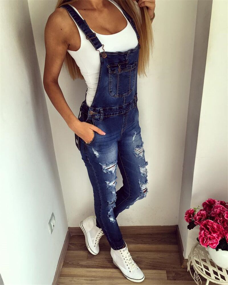 Goodbuy 2017 Summer Womens Denim Jumpsuits Overalls Sexy Jeans Office Casual Hole Pocket Spring Pencil Pants Femme Real Photo