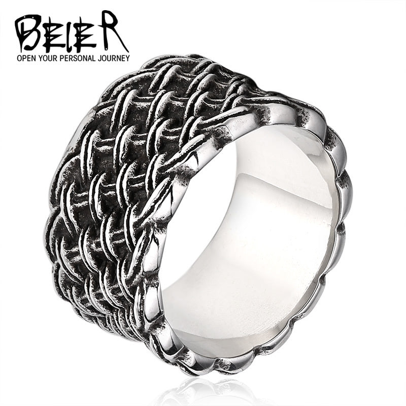 Gothic Weave Style Ring For Man Woman 316L Stainless Steel High Quality Fashion Jewelry Wholesale Factory Price BR8-090
