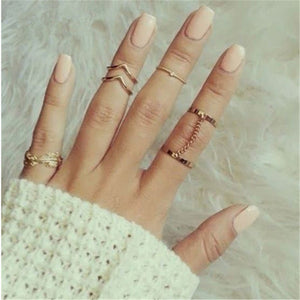 H:HYDE 6pcs/lot Fashion Jewelry Adjustable Gold-color Stacking midi Finger Knuckle Open rings Sets for women Anillo Jewelry Gift