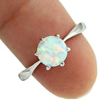 HAIMIS White Fire Opal CZ Women Claw Inay Fashion Jewelry Opal Ring Size 6 7 8 9 10 23w
