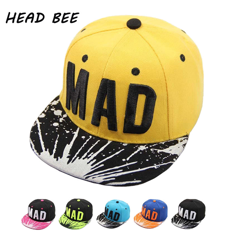 [HEAD BEE] 2017 Trend Hat Snapback Cap Children Embroidery MAD Letter Baseball Caps Kid Boys And Girls Flat Hip Hop Cap