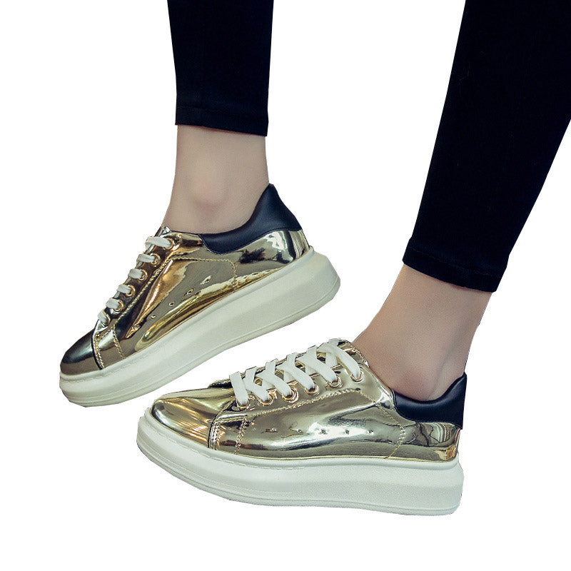 HEE GRAND Patent Leather Creepers Platform Shoes Woman 2017 Casual Loafers Gold Silver Flats Lace-Up Women Shoes XWC1010