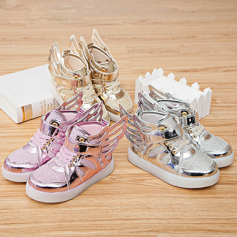HH Children shoes with light Fashion glowing sneakers boys little girls shoes wings canvas flats spring kids light up shoes