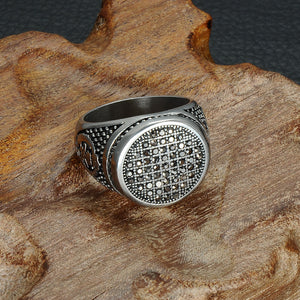 HIP Punk Gothic Black Crystal Round Mens Ring Titanium Stainless Steel Cubic Zirconia Rings for Men Jewelry