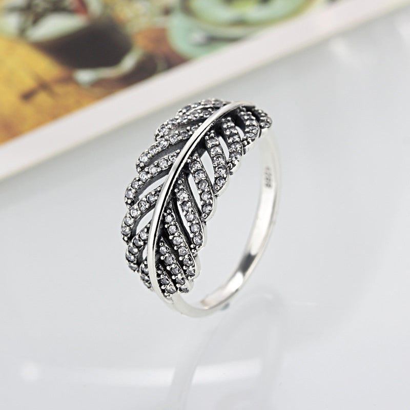 HOMOD Classic Popular Silver Color Leaves Brand Finger Rings with AAA Zirconia Cheap Ring Women Fashion Jewelry