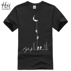 HanHent 2017 Europe Style T shirts Men Summer Fashion Climb To The Moon Printed Tshirt Casual Short Sleeve O-neck T-shirt