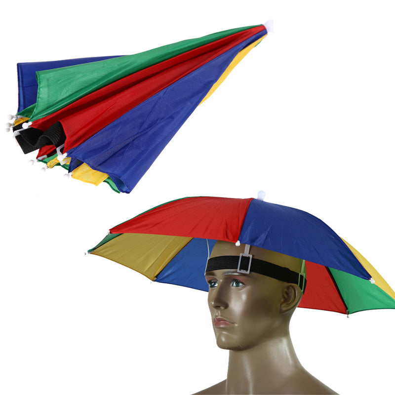 Hands Free Portable 55cm Usefull Umbrella Hat Sun Shade Camping Fishing Hiking Festivals Outdoor Brolly 2 Colors