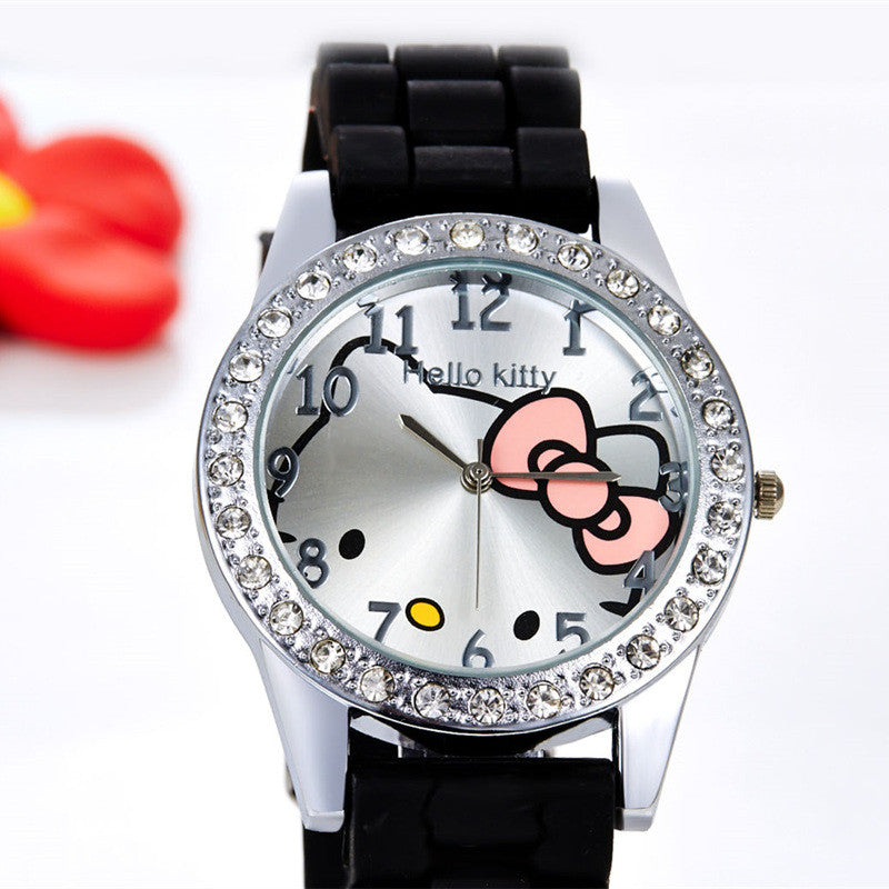 b6e4913e9 Hello Kitty Watches Rhinestone Cartoon Kids Watch Children's Watches Jelly  Silicone Girl Watch Baby Clock saat