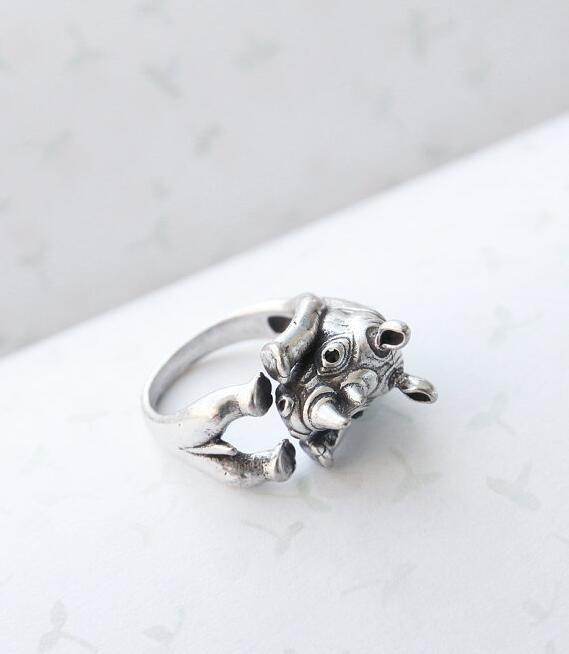 High Grade Trendy Silver Plated Punk Hot Bands rhinoceros Animal Wrap Rhino Ring For Men Women Jewelry Gift