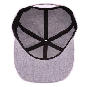 High quality grey wool snapback 3D pierced embroidery hip hop cap flat bill baseball cap for men and women