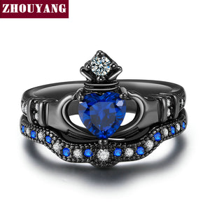 Holding the Created Blue Crystal love Heart Cubic Zirconia Crown Wedding Ring Sets Black Gold Color Fashion Jewelry DD015 R616