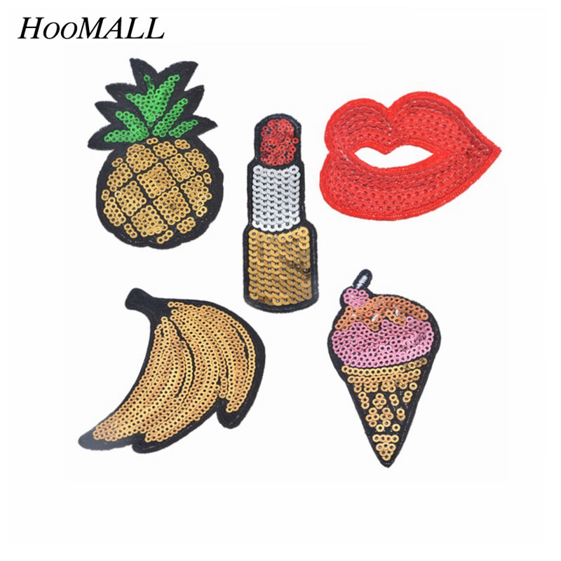 Hoomall 5PCs Mixed Sequins Patches For Clothing Motif Applique Embroidered Sticker Iron On DIY Garment Kids Sewing Accessories
