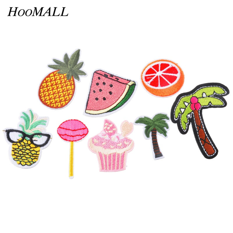 Hoomall 8PCs Patches For Clothes Iron On Applique Embroidered Patches DIY Labels Backpack Sticker Sew Patches Fruit Cartoon