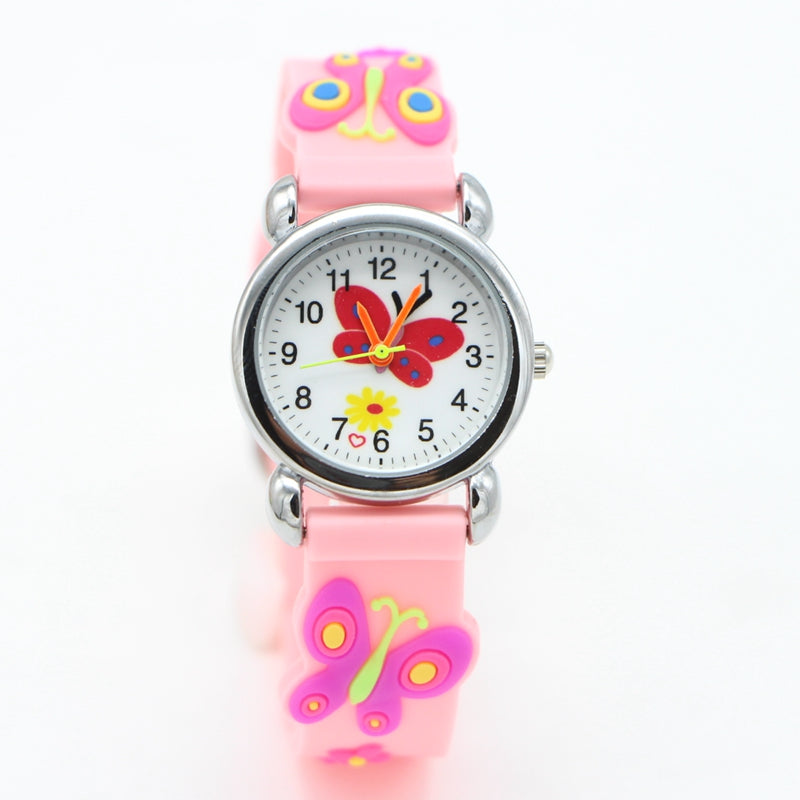 Hot 3D Cartoon butterfly Design Analog Watch Children Kids Girls ...