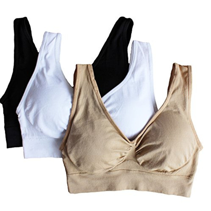 Hot Genie Bra with removable pads Women's Two-double Sports Fitness Yoga Vest 3pcs/set