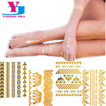 Hot Metallic Body Tattoo Art Sticker Gold Blue Black Sexy Flash Tattoos Jewelry Temporary Waterproof Fashion Decal Hair Tattoo