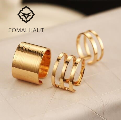 Hot Sale FOMALHAUT Vintage Punk Gold & Silver Color Geometric Triangle Mid Finger Rings 3pcs/Set wedding rings open ring