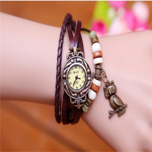 Hot Sales Owl Pendant Genuine Cow Leather Watches women ladies men fashion dress quartz wristwatches Relogio Feminino kz015