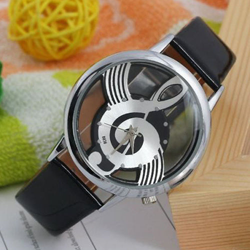 Hot Selling Good DealWomen's Men's Musical Note Notation Hollow Faux Leather Strap Quartz Wrist Watch 6JKN