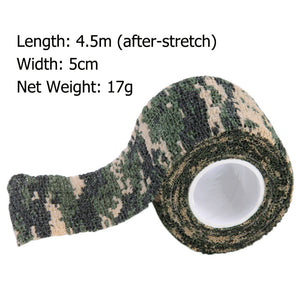 Hot Worldwide 1 Roll Camo Stretch Bandage,Camping Hunting Camouflage Tape for Gun,Cloths