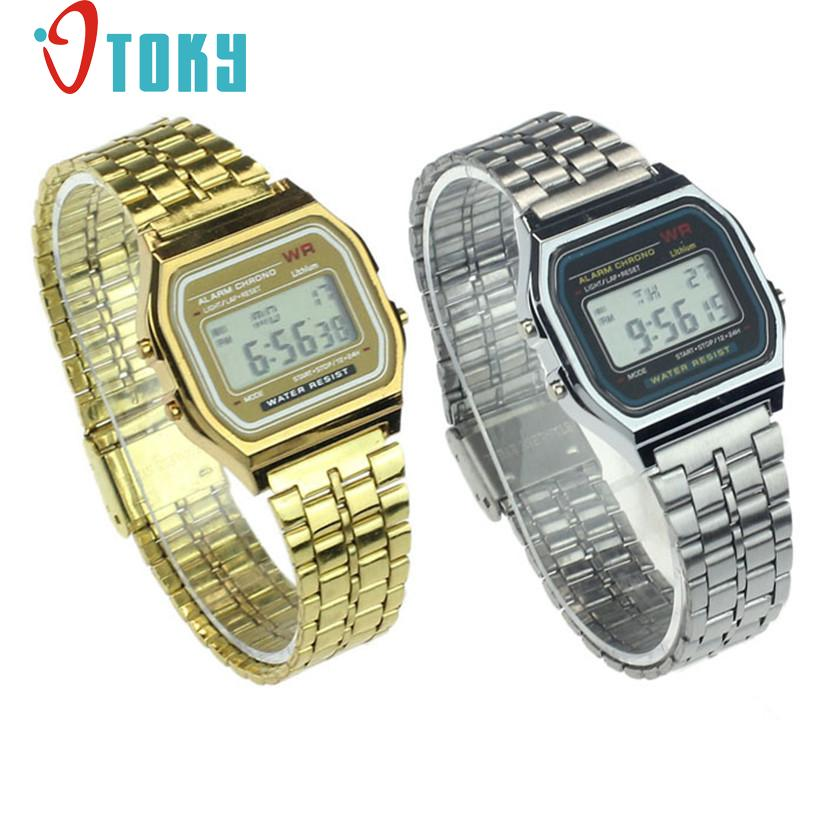 Hot hothot Womens Men Watch Stainless Steel Digital Alarm Stopwatch Classic Silver Gold WristWatch Men nv7 Dropshipping