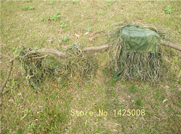 Hunting grass type Sniper tactical camouflage headvie hood cap and Rifle rope for Ghillie Suit hunting cloth