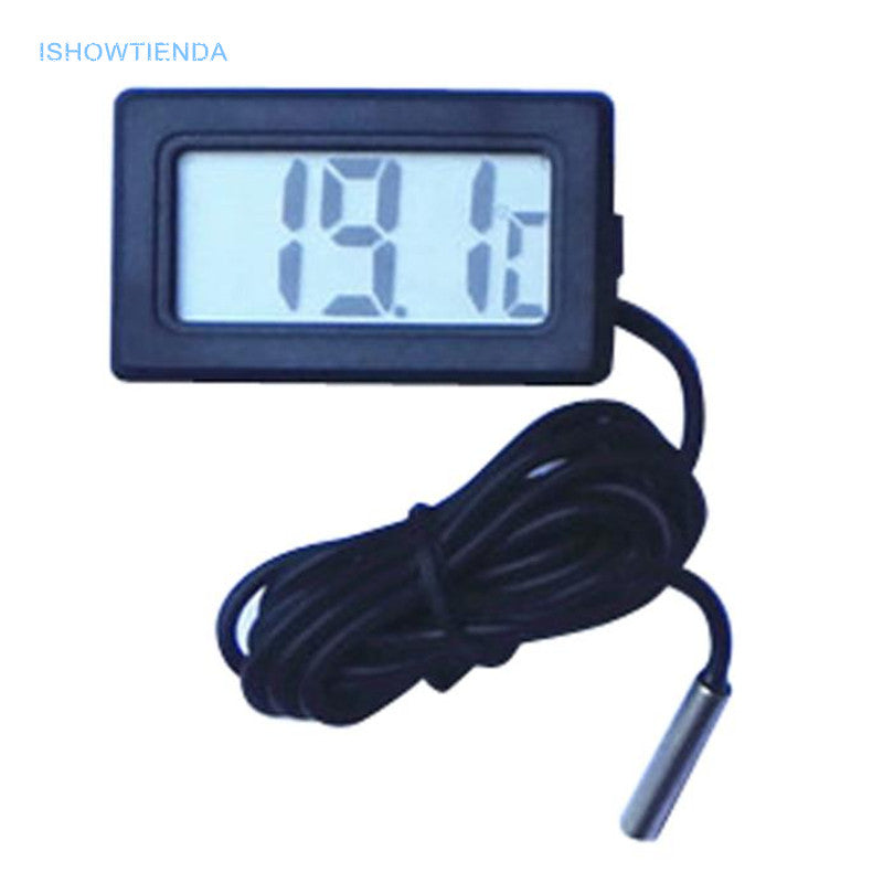 ISHOWTIENDA 1m Practical Mini Thermometer Household Temperature Meter Digital LCD Display Button Battery Included Wholesale