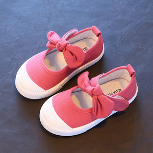 J Ghee Baby Girl Shoes Canvas Casual Kids Shoes With Bowtie Bow-knot Sweet Candy Color Girls Sneakers Children Soft Shoes 21-30