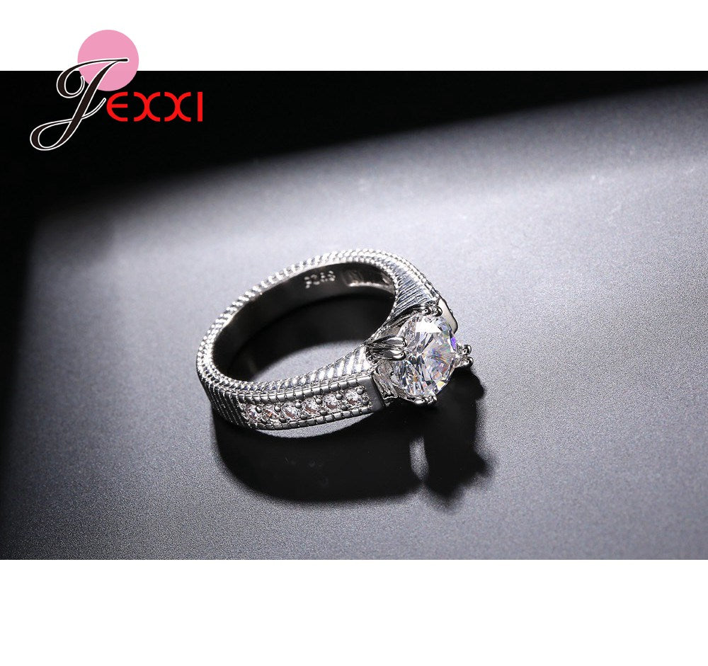 JEXXI Elegant Wedding Engagement Rings Set 2 PCS 925 Sterling Silver Anniversary Accessories With Full Shiny Cubiz Zircon Stone