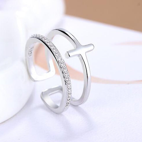 JEXXI Hot Selling New Design Shiny CZ 925 Sterling Silver Ring For Women/Girls New 2016 Fashion Jewelry Free Shipping