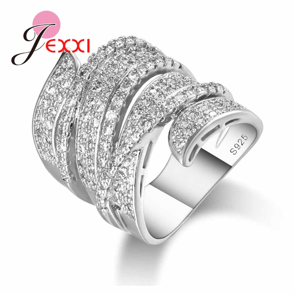 JEXXI Punk Stylish 100% 925 Sterling Silver Jewelry Clear Cubic Zircon Paved Wide Chunk Band Ring Original Gift for Women Men