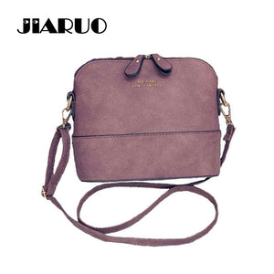 JIARUO Korean Retro Suede Bag Leather Women Small Shell Do Old Messenger Bag CrossBody Bag Lady Handbag Causal Travel Clutch