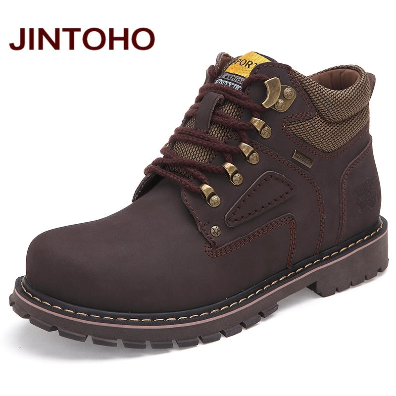 JINTOHO Big Size Men Ankle Boots High Quality Genuine Leather Men Work&Safety Boots Winter Shoes Rubber Boots For Men Work Shoes