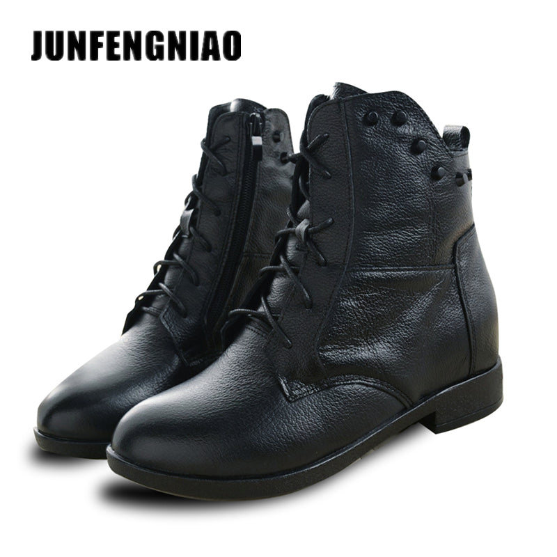 JUNFENGNIAO Snow Boots Women's Shoes Mother Ladies Plush Winter Fur Rubber Genuine Leather Lace Up Flats Round Toe GZXM8812