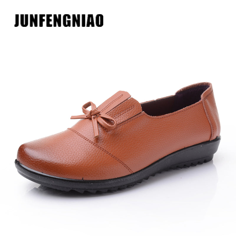 JUNFENGNIAO Women's Shoes Flats Real Cow Split Leather Fashion Moccasins Chaussure Homme Casual Brand Ugs Sapatos Shoes DNF2136